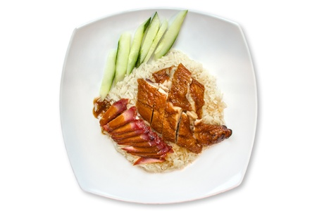 Traditional roasted chicken rice with char siew photo