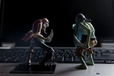spammer: Concept of virus attacking computer Stock Photo
