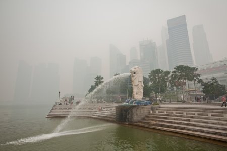 Singapore - June 20, 2013 - The haze crisis in Singapore