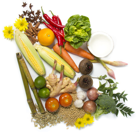 food pyramid: Colorful fresh group of fruits and vegetables for a balanced diet. Stock Photo