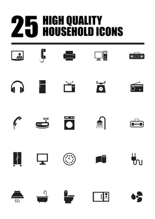 clock radio: Household and home appliance icons symbols