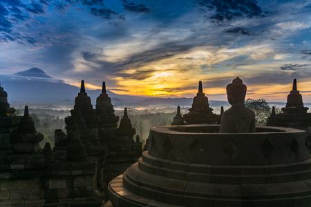 Borobudur Temple at dawn Stock Photo