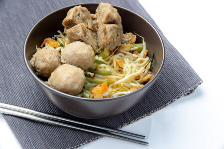 Bakso or Baso, Meatball beef ball noodle   traditional food from Asia Indonesia culinary and Malaysia Malay Asian food