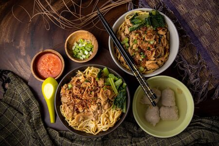 Indonesian Traditional Food chicken noodle or bakmi mie ayam with baso or beef ball