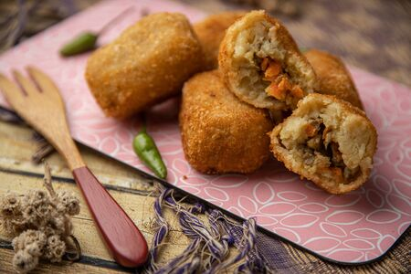 Rissole, risol, risoles in Asian Asia style as snack or appetizer in Indonesia and Malay tradition food