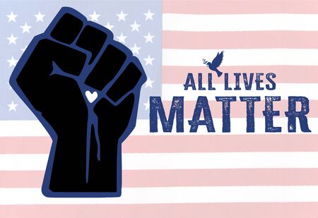Concept image of the All Lives Matter socio-political peace movement to stop black lives matter demonstration in the American USA US society and to support police law enforcement Stok Fotoğraf