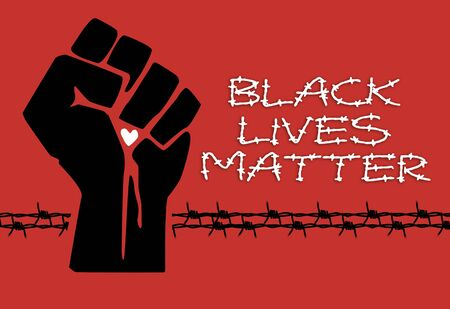 "Concept image of the Black Lives Matter"" socio-political movement that is fighting for a better integration of minorities in the American USA US society and the stop of police brutality"