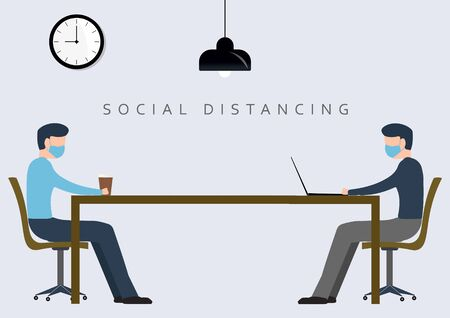 Social and physical distancing at office workstation among worker businessman. Employees are maintain distance during work or meeting at workstation. Safety awareness of coronavirus covid-19 pandemic