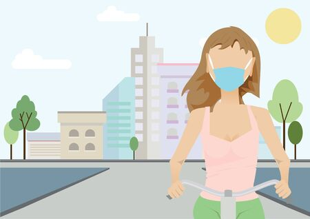 Solo cycling biking bicyclist cyclist biker with mask outdoor activities sport workout during new normal  of Covid-19 Coronavirus pandemic to keep physical social distancing