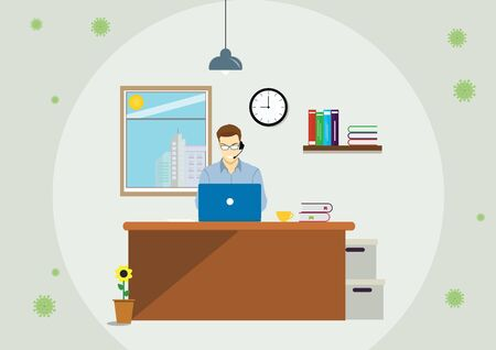 Businessman work online from home during the pandemic outbreak and social distancing alert. Stay at home to avoid virus infection as new normal