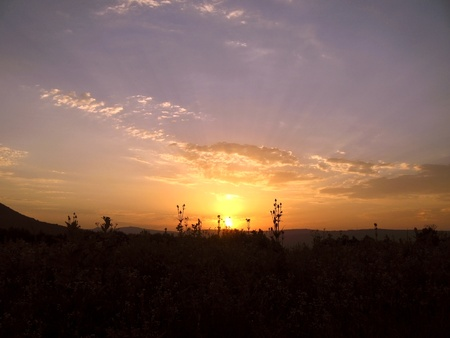 caucas: Summer sunset. Caucas. Stock Photo