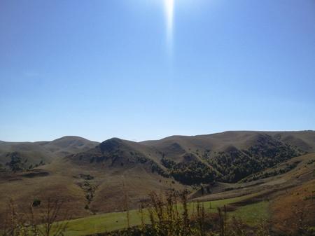 Caucasus landscape and autumn nature in daylight