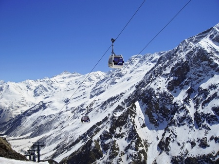 Caucasus mountains under the snow and clear sky Stock Photo - 11473906