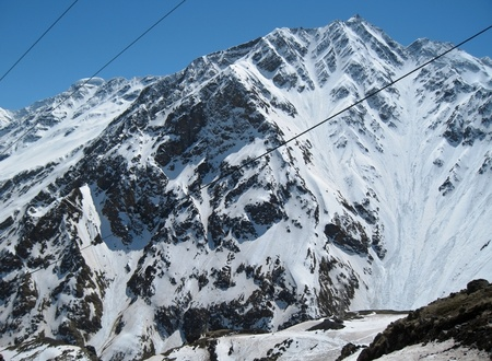 Caucasus mountains under the snow and clear sky Stock Photo - 11473902