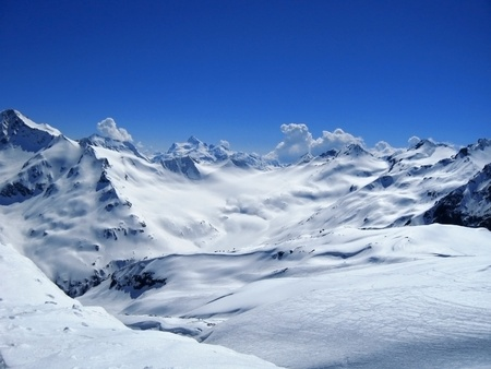 Caucasus mountains under the snow and clear sky Stock Photo - 11473917