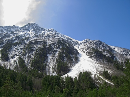 Caucasus mountains under the snow and cloudly sky Stock Photo - 11473928