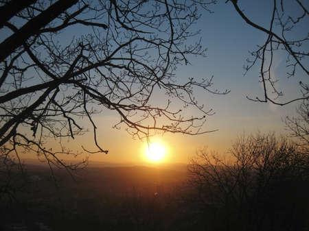 pyatigorsk: Autumn sunset middle the trees. Fall in Pyatigorsk
