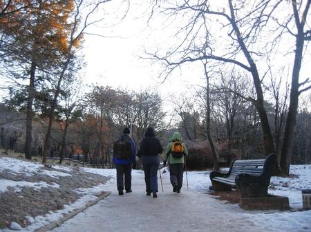 caucas: Three tourists going for track. Winter Caucas Stock Photo