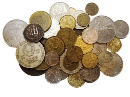 Old russian coins of different times photo