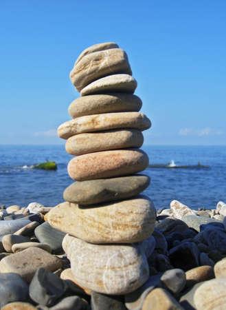 Balanced stones on the seashore. Black Sea seaside photo