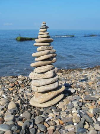 Balanced stones on the seashore. Black Sea seaside