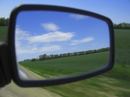 View in the looking-glass of auto car Stock Photo