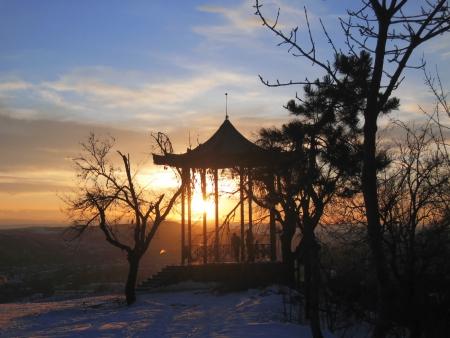 pyatigorsk: Chinese arbor  North Caucasus landmarks  Winter Pyatigorsk Stock Photo