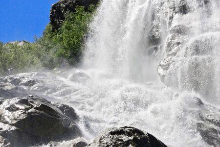caucas: Alibek waterfall. Dombay mountains. The Northern Caucas Stock Photo