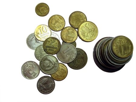 Coins stack of soviet and russian money different times isolated photo