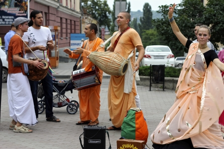 Hare Krishna Hare Rama on the streets Editorial