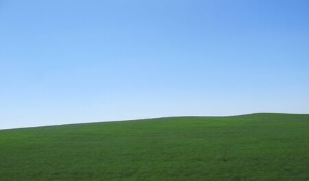 Green field and blue sky and white clouds photo