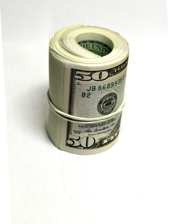 Fifty dollars isolate on the white background Stock Photo