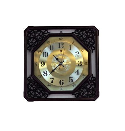 A big square clock on the wall isolated photo