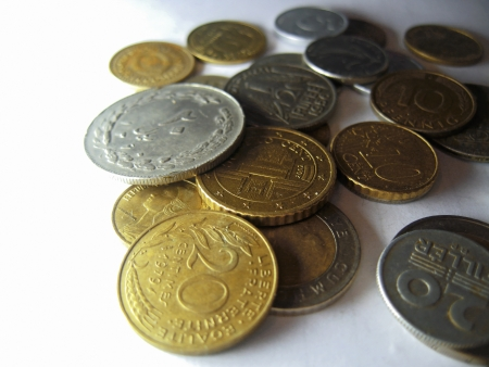 argentum: Old coins from different countries and different times Stock Photo