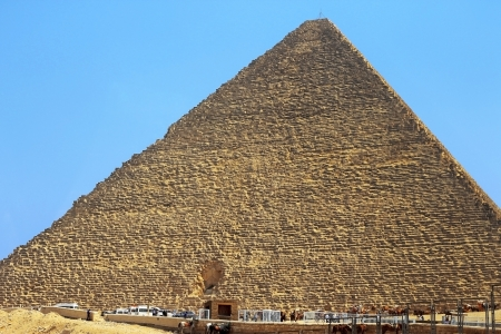 Pyramids of Cheops and Chefre in the desert of Egypt photo