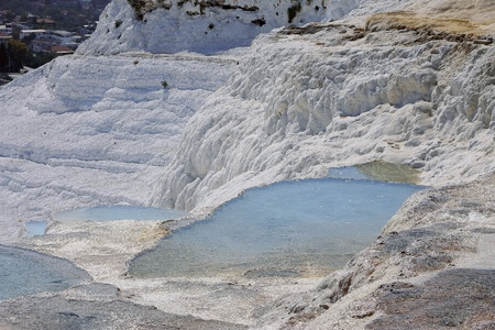 The Pamukkale natural lakes in Hierapolis Turkey photo