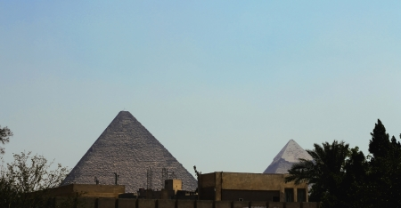 Pyramids of Cheops in the desert of Egypt photo
