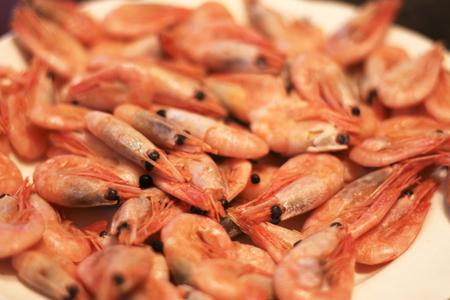 Een gekookte garnalen Achtergrond klaar voor het eten Stockfoto