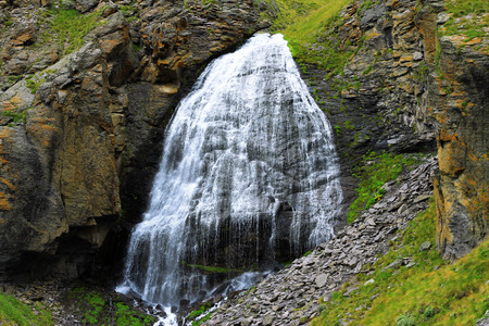 caucas: Waterfall Girlish Braids between the mountains of Northern Caucas