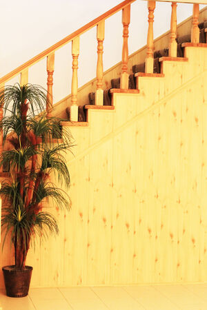 stair well: Stairway leading up in the hall of hotel Stock Photo