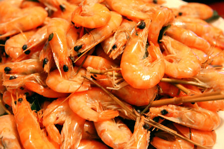 mass storage: A Boiled Shrimps Background ready for eating Stock Photo