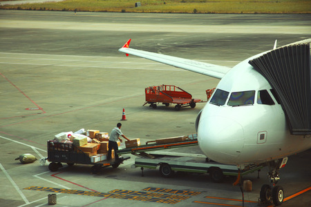 Airplane loading and ready starting to fly