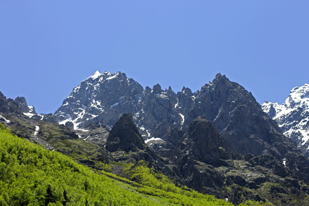 caucas: Caucasus mountains under snow and clear blue sky
