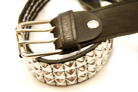 Black leather belt isolated on the white background Stock Photo