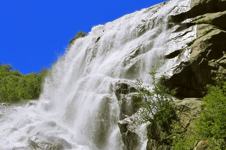 caucas: Alibek Waterfall. Dombay Mountains. The Northern Caucas
