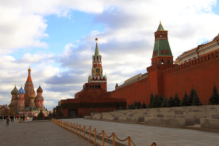 spasskaya: Spasskaya tower and St Basils cathedral Red Square Moscow