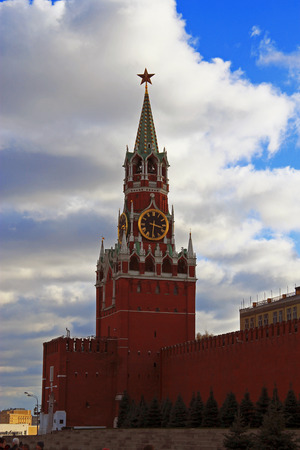 Spasskaya clock tower in the Kremlin Red Square Moscow photo