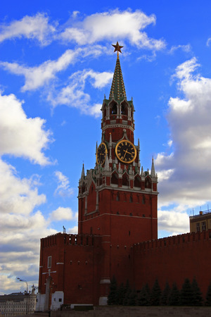spasskaya: Spasskaya clock tower in the Kremlin Red Square Moscow