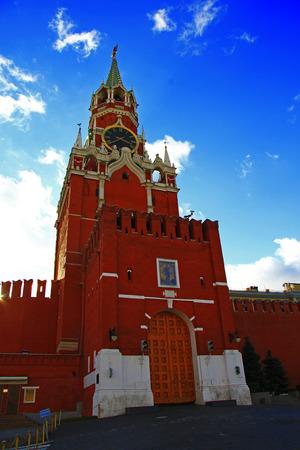 spasskaya: Spasskaya clock tower in the Kremlin Red Square Moscow