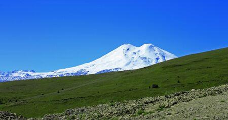 elbrus: Elbrus mountain is highest peak of Europe Stock Photo